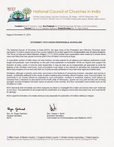 NCCI Statement urging responsible journalism lh