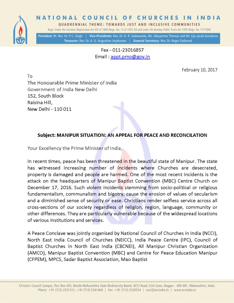 ncci manipur situation appeal letters to prime minister and manipur situation appeal from ncci page 1