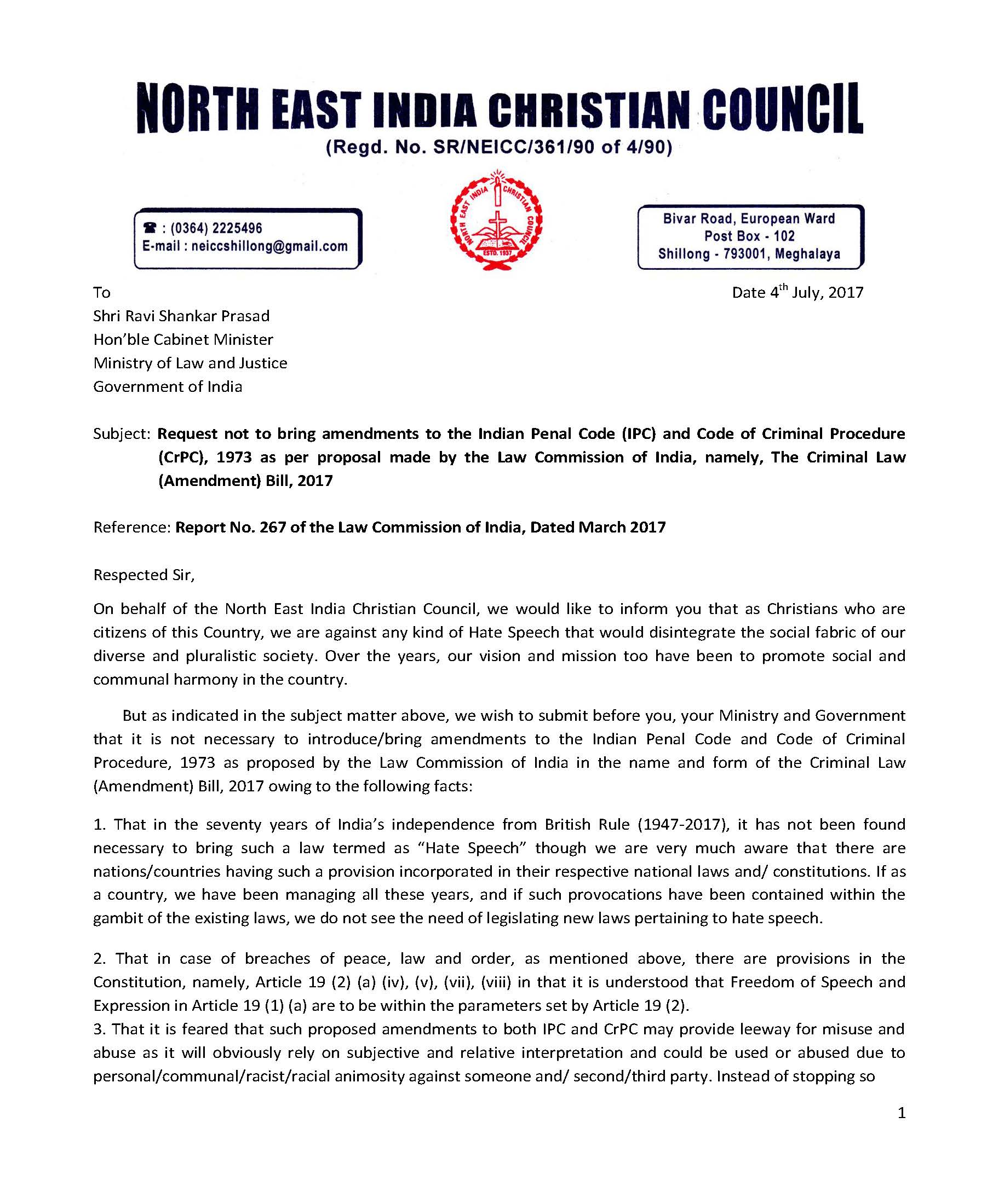 Letter Format To Ministry.  Note If you cannot view the letter in images below this please click on link given to download pdf format NCCI NEICC Ministry of Law and Justice with