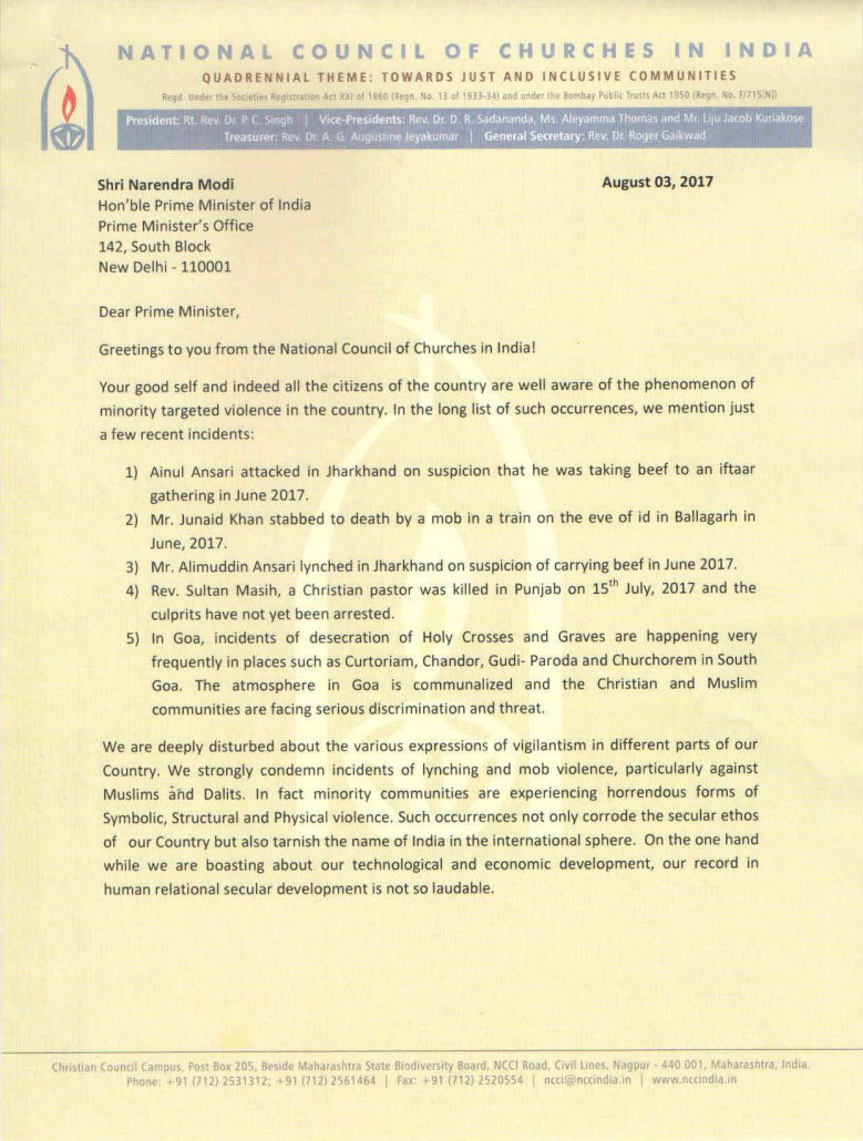 Ncci  Ncci Letter To Prime Minister Of India