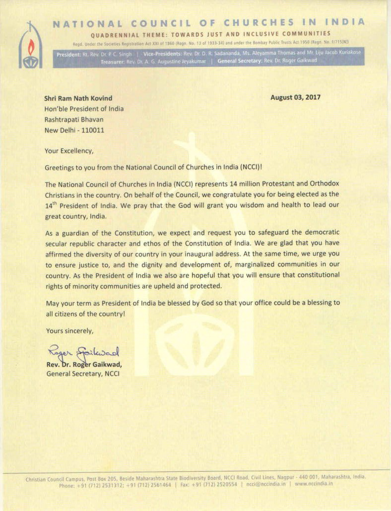 Ncci  Ncci Letter To President Of India